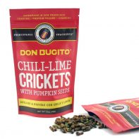 Chile-Lime Crickets & Pumpkin Seeds Chile-Lime Crickets & Pumpkin Seeds Chile-Lime Crickets & Pumpkin Seeds Chile-Lime Crickets & Pumpkin Seeds 🔎zoom Request a custom order and have something made just for you. Item details 4.5 out of 5 stars. (125) reviews Shipping & Policies TOASTED CRICKETS & PUMPKIN SEEDS WITH CHILE AND LIME FLAVOR (NO DAIRY AND NO EGGS) – 5 month shelf life QTY: .5 oz 30-40 Crickets Aprox. These crickets pumpkin seeds are hand toasted and seasoned with fresh lime juice and chile powder. They are a great healthy and sustainable treat! All of Don Bugito's crickets come from a farm dedicated to raising the highest quality insects for human consumption. Crickets are farmed and raised with a natural diet of bran and carrots. Ingredients: Toasted Crickets, Toasted Pumpkin Seeds, Fresh Lime Juice, Cayenne pepper, Sea Salt. IF YOU ARE ALLERGIC TO SHELLFISH THIS PRODUCT IS NOT FOR YOU. Made in a facility that processes milk, eggs and peanuts Meet the owner of DONBUGITO Monica Martinez Chile-Lime Crickets & Pumpkin Seeds