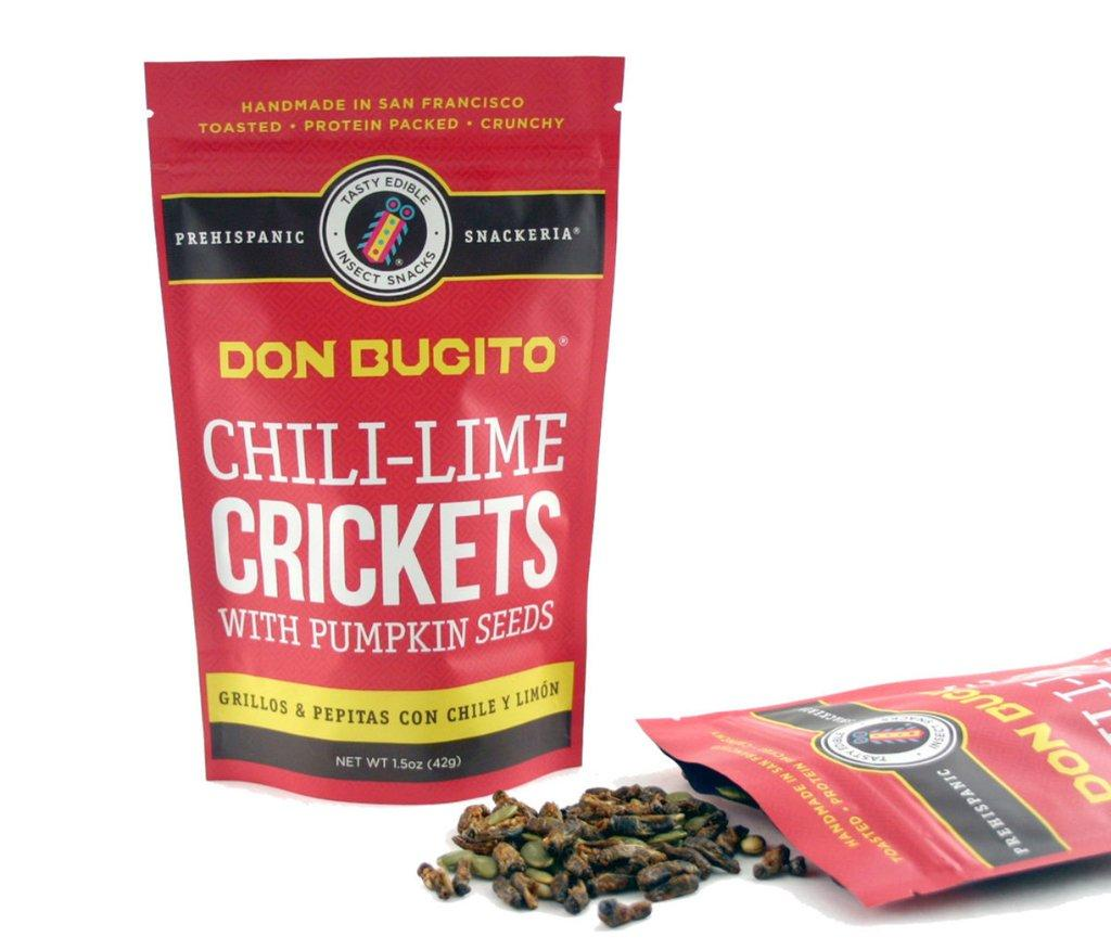 Chile-Lime Crickets & Pumpkin Seeds Chile-Lime Crickets & Pumpkin Seeds Chile-Lime Crickets & Pumpkin Seeds Chile-Lime Crickets & Pumpkin Seeds ?zoom Request a custom order and have something made just for you. Item details 4.5 out of 5 stars. (125) reviews Shipping & Policies TOASTED CRICKETS & PUMPKIN SEEDS WITH CHILE AND LIME FLAVOR (NO DAIRY AND NO EGGS) – 5 month shelf life QTY: .5 oz 30-40 Crickets Aprox. These crickets pumpkin seeds are hand toasted and seasoned with fresh lime juice and chile powder. They are a great healthy and sustainable treat! All of Don Bugito's crickets come from a farm dedicated to raising the highest quality insects for human consumption. Crickets are farmed and raised with a natural diet of bran and carrots. Ingredients: Toasted Crickets, Toasted Pumpkin Seeds, Fresh Lime Juice, Cayenne pepper, Sea Salt. IF YOU ARE ALLERGIC TO SHELLFISH THIS PRODUCT IS NOT FOR YOU. Made in a facility that processes milk, eggs and peanuts Meet the owner of DONBUGITO Monica Martinez Chile-Lime Crickets & Pumpkin Seeds