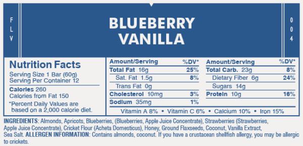 Blueberry Vanilla Protein Bar Nutrition Label