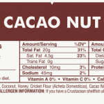 Cacao Nut Protein Bar Nutrition Label
