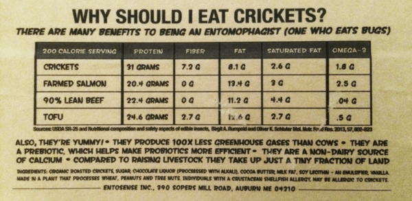 Cricket Crunch Bar Nutrition Label