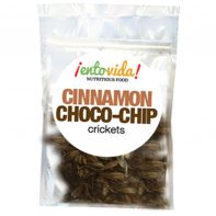 Roasted Crickets with an Cinnamon Choco-Chip flavor.