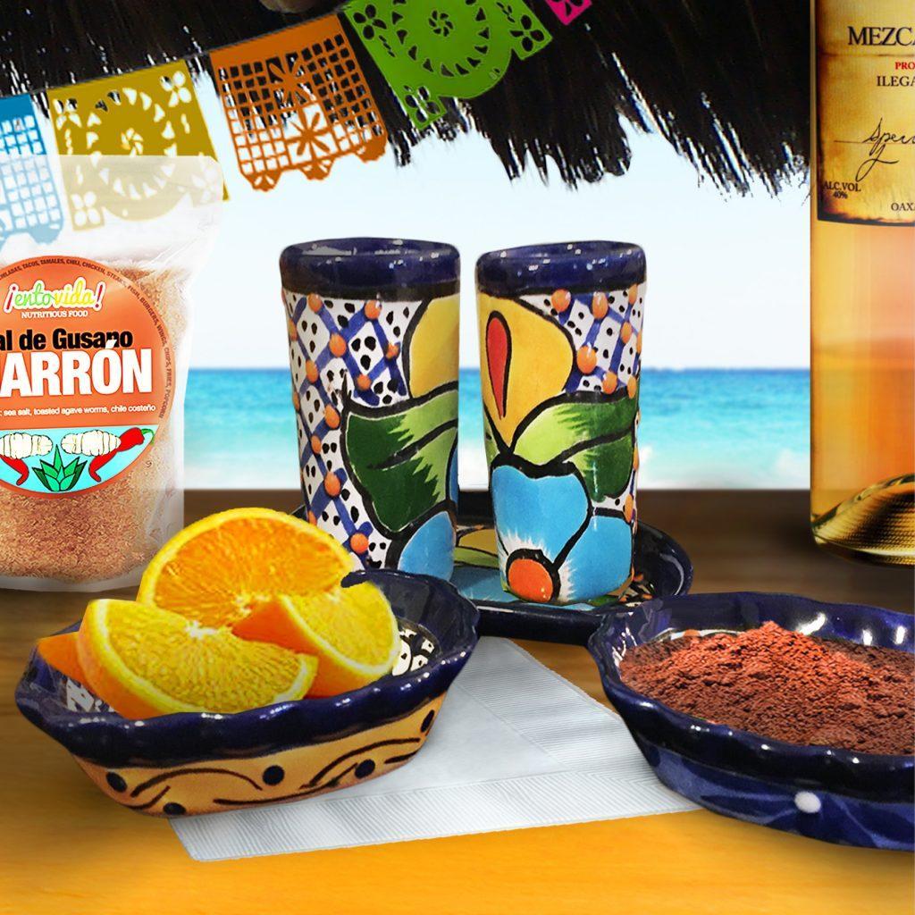 Mezcal Tequila Talavera Shot Set Sal De Gusano Set