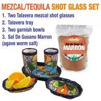 NEW-Mezcal-Tequila-Talavera-Shot-Set-Sal-De-Gusano-Marron-Agave-WormSalt-Set
